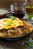 Traditional Italian lasagna cooked in a frying pan Stock Photo