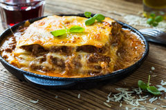 Traditional Italian lasagna cooked in a frying pan Royalty Free Stock Photos