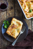 Traditional italian lasagna  with minced beef bolognese sauce Stock Photo
