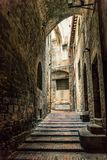 Traditional italian medieval alley and buildings in the historic center of beautiful town of Perugia, in Umbria Region, Italy stock images