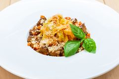 Traditional italian pasta with beef Royalty Free Stock Photography