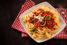 Traditional Italian pasta with Bolognaise sauce Royalty Free Stock Images