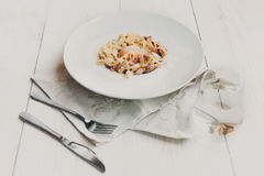 Traditional italian pasta carbonara with bacon and egg Stock Image