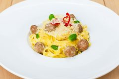 Traditional italian pasta with meatballs Royalty Free Stock Images