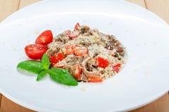 Traditional italian pasta with mushrooms Stock Photos