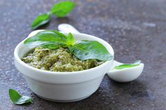Traditional Italian pesto sauce with basil Royalty Free Stock Photography