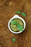 Traditional Italian pesto sauce with basil Stock Images
