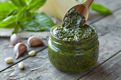 Traditional Italian pesto vegetarian food with Royalty Free Stock Photography