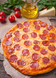Traditional Italian pizza pepperoni with delicious Royalty Free Stock Photography