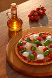 Traditional Italian pizza with tricolor Royalty Free Stock Images