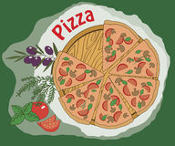 Traditional Italian pizza vector illustration Royalty Free Stock Photo