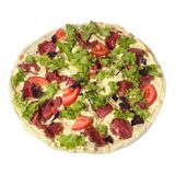 Caesar pizza with prosciutto parma ham, arugula salad rocket and parmesan. Top view. Isolated on white royalty free stock images