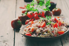 Traditional italian rice salad with tuna and vegetables Stock Image