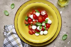 Free Traditional Italian Salad Caprese With Tomato, Mozzarella Cheese Stock Photo - 120433010