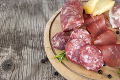 Traditional Italian salami and cheese dish Royalty Free Stock Images