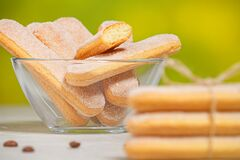 Free Traditional Italian Savoiardi Biscuits Or Ladyfingers Cookies In A Stack Stock Photos - 187254593