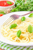 Traditional Italian simple dish - pasta with  olive oil and basi Stock Image