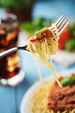 Traditional Italian spaghetti bolognese on wooden background Royalty Free Stock Images