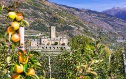 Traditional Italy - castles and gardens of Valle d'Aosta - Sarre Stock Photos