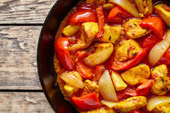 Traditional jalfrezi chicken Indian culture spicy meat and vegetables Royalty Free Stock Photo
