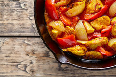 Traditional jalfrezi chicken Indian culture spicy meat and vegetables food Royalty Free Stock Photo