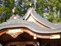 Traditional Japan. Traditional, old Japanese roof, found on a Shinto-Shrine (temple). Picture taken in Takayama in Central Japan royalty free stock photo
