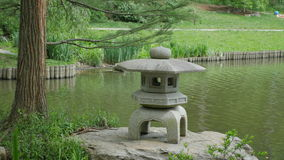 A traditional Japanes stone light in park. Stock Photo
