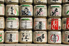 Traditional Japanese aging sake casks Stock Photography