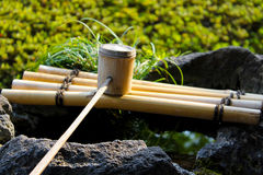 Traditional Japanese bamboo dipper Royalty Free Stock Images