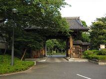 Traditional Japanese Buddhist temple gate and garden Royalty Free Stock Photos