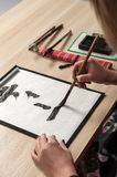 Traditional Japanese or Chinese calligraphy Royalty Free Stock Images
