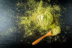 Traditional Japanese and Chinese tea matcha. Top view royalty free stock image