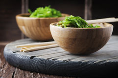Traditional Japanese chuka salad on the wooden table Royalty Free Stock Photo
