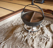 Traditional Japanese cooking pot. A cooking put hangs above the fire pit, traditional Japanese style Stock Photo