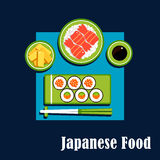Traditional japanese cuisine dinner icons Stock Photography