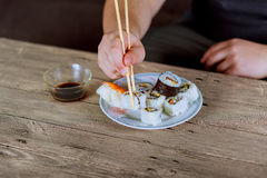Traditional Japanese cuisine, sushi rolls on a view from the top Royalty Free Stock Images