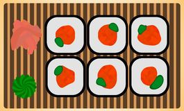 Traditional japanese dinner meal rice roll sushi set with wasabi and ginger. Colorful vector illustration fresh gourmet. Japan maki on susi-plate Royalty Free Stock Photo