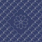 Traditional Japanese Embroidery Ornament with arcs and sakura fl Stock Photos
