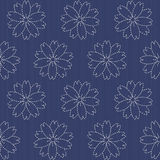 Traditional Japanese Embroidery Ornament with blooming sakura fl Stock Photography