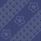 Traditional Japanese Embroidery Ornament with blooming sakura flowers. Stock Images