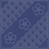 Traditional Japanese Embroidery Ornament with fish scales. Vecto Royalty Free Stock Images
