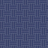 Traditional Japanese Embroidery Ornament with lines and rectangles. Old traditional handiwork. Stylized Seamless texture with weaving on the dark blue Royalty Free Stock Images