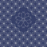 Traditional Japanese Embroidery Ornament with rhombs and sakura flower. Royalty Free Stock Photo