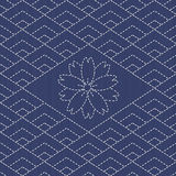 Traditional Japanese Embroidery Ornament with rhombs and sakura flower. Stock Photos