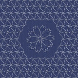 Traditional Japanese Embroidery Ornament with sakura flower. Sas Royalty Free Stock Images