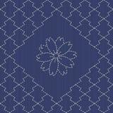 Traditional Japanese Embroidery Ornament with sakura flower. Sas Stock Photo
