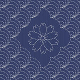 Traditional Japanese Embroidery Ornament with shells and sakura flower. Stock Image