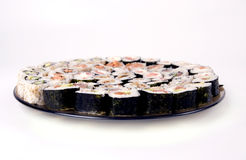 Traditional Japanese food. Collection of different rolls served on the round plate stock photography