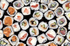 Traditional Japanese food. Collection of different rolls close-up royalty free stock photography