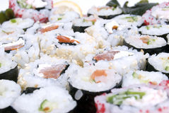 Traditional Japanese food. Collection of different japanese rolls stock photography